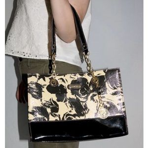 anne klein black and cream abstract printed bag